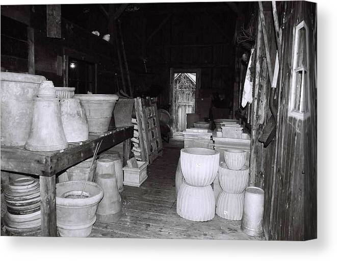 Black And White Canvas Print featuring the photograph Potting Barn Of Maine by AnnaJanessa PhotoArt