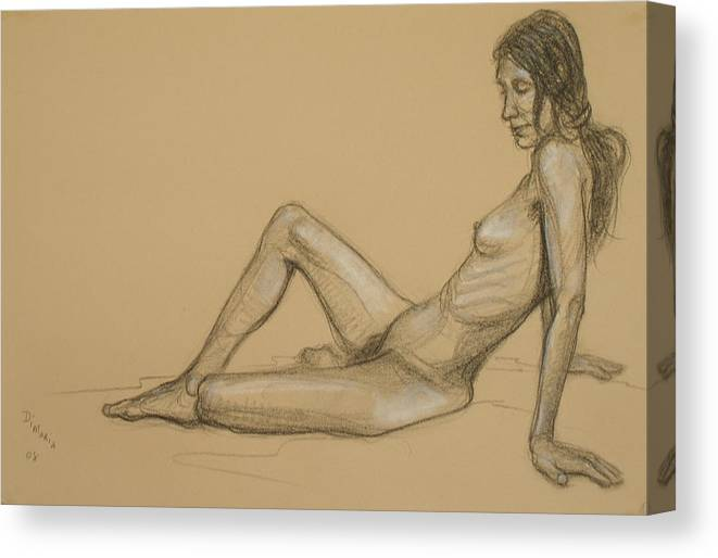 Realism Canvas Print featuring the drawing Reclining Nude 3 by Donelli DiMaria