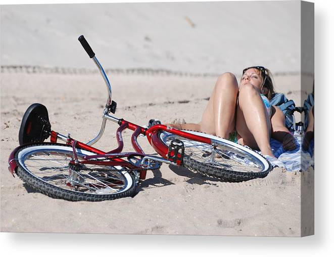 Red Canvas Print featuring the photograph Red Bike On The Beach by Rob Hans
