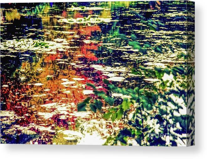 Oscar-glaude Monet Canvas Print featuring the photograph Reflection On Oscar - Claude Monet's Garden Pond by D Davila