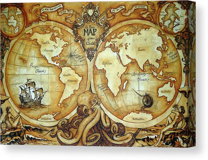 Release The Kraken - A New Map Of The World Canvas Print / Canvas ...