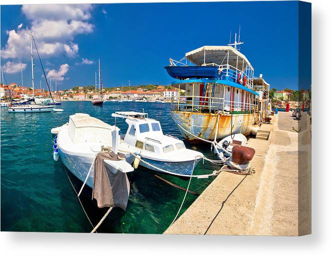 Dugi Otok Canvas Print featuring the photograph Rusty Fishing Boat In Sali Harbor by Brch Photography