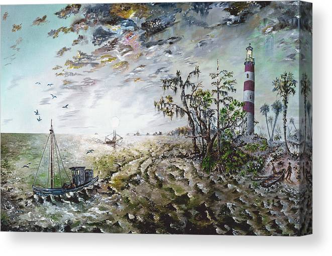 Lighthouse Canvas Print featuring the painting Sapelo Island by Richard Barham