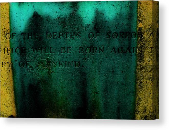 Cemetery Canvas Print featuring the photograph Sorrow by Grebo Gray