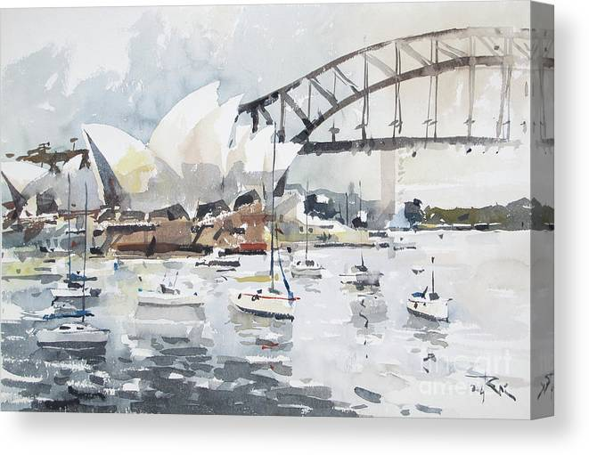 Watercolour Canvas Print featuring the painting Sydney Opera by Tony Belobrajdic