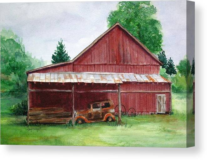 Barns Canvas Print featuring the painting Tennessee Barn by Suzanne Krueger
