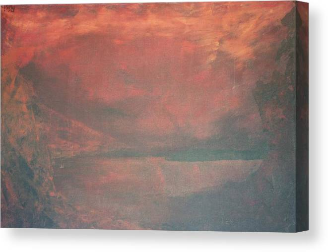 Landscape Cavern Mountains Canvas Print featuring the painting The Abyss by Peta Mccabe