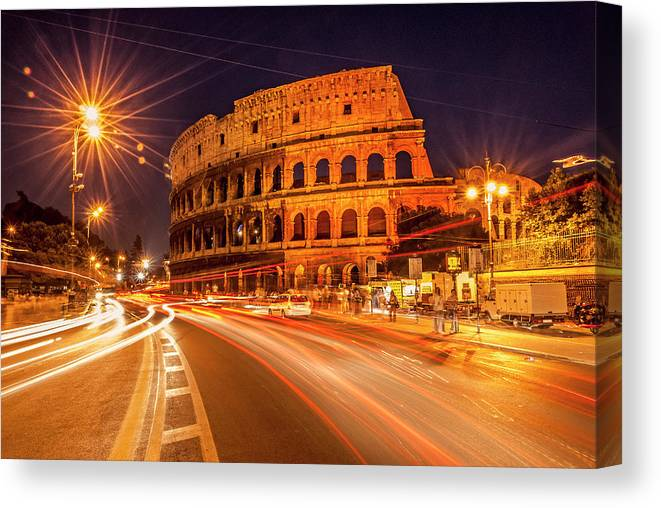 Italian Canvas Print featuring the photograph The Colosseum, Rome, Italy by Tom Zeman