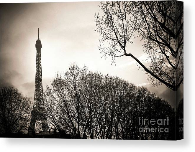 Weather Canvas Print featuring the photograph The Eiffel Tower In Backlighting. Paris. France. Europe. by Bernard Jaubert