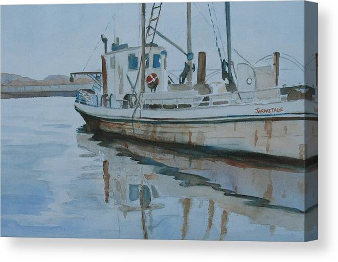 Boat Canvas Print featuring the painting The Helen Mccoll At Rest by Jenny Armitage
