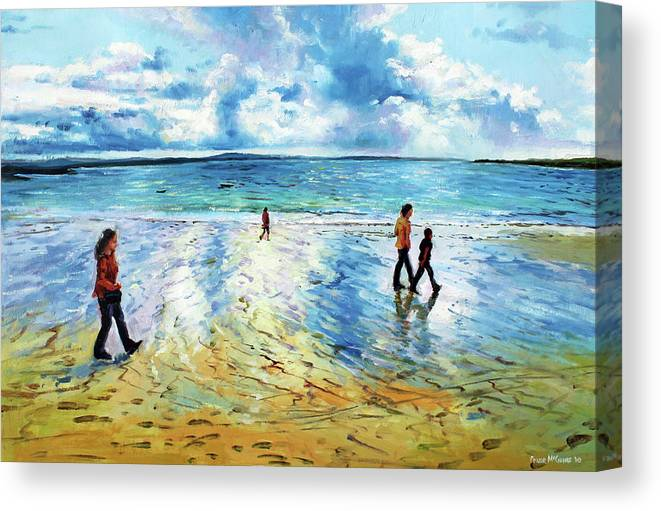 Tramore Beach Canvas Print featuring the painting Tramore Beach Waterford by Conor McGuire