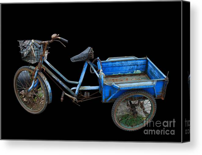 Tricycle Blue Old Bicycle Color Canvas Print featuring the photograph Tricycle In Blue by Ty Lee