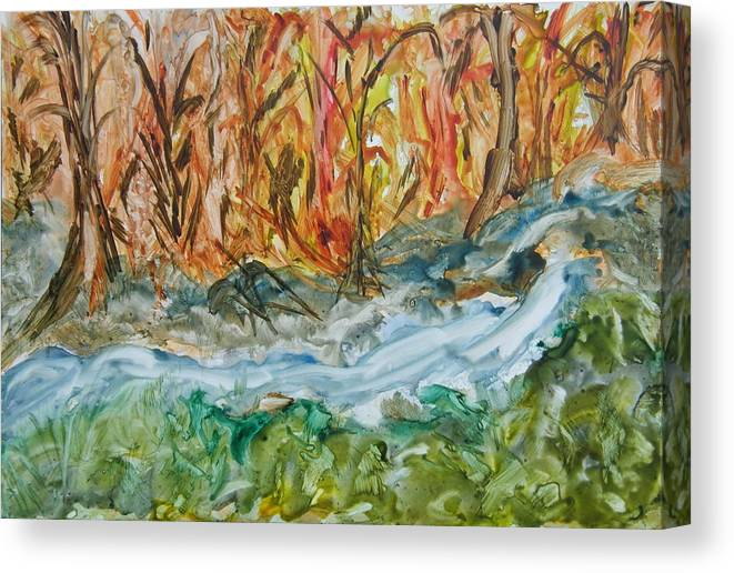Water Canvas Print featuring the painting Up The Creek by Margaret G Calenda