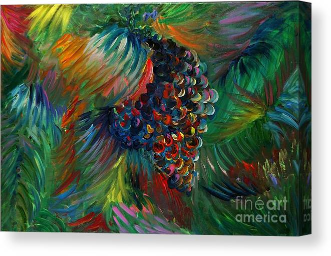 Grapes Canvas Print featuring the painting Vibrant Grapes by Nadine Rippelmeyer