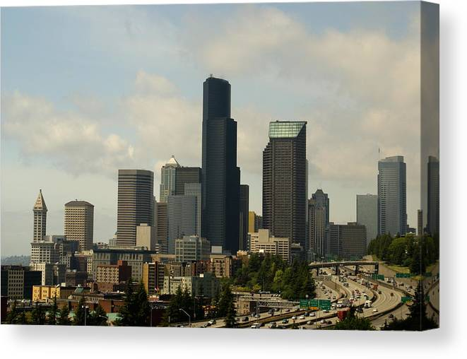 Urban Canvas Print featuring the photograph View Of Downtown by Sonja Anderson