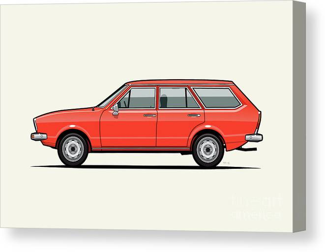 Car Canvas Print featuring the digital art Volkswagen Dasher Wagon / Vw Passat B1 Variant by Monkey Crisis On Mars