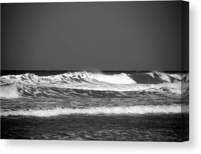 Waves Canvas Print featuring the photograph Waves 2 In Bw by Susanne Van Hulst