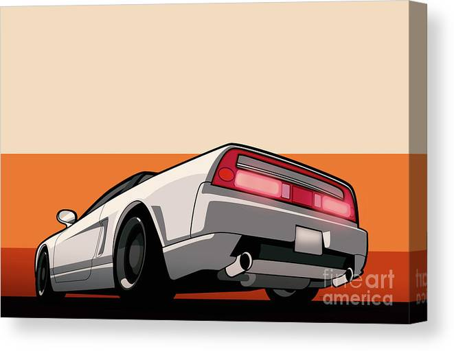Honda Canvas Print featuring the digital art White Honda Acura Nsx by Monkey Crisis On Mars