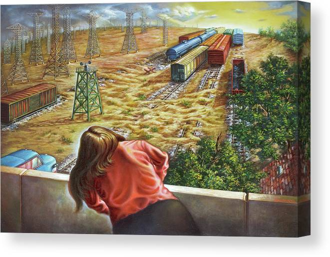 Trains Canvas Print featuring the painting Yardwatcher by Todd Snyder