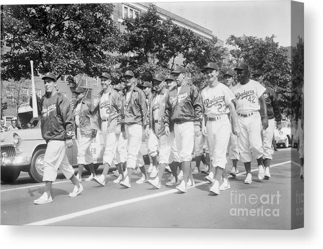 1950-1959 Canvas Print featuring the photograph Brooklyn Dodgers by Kidwiler Collection