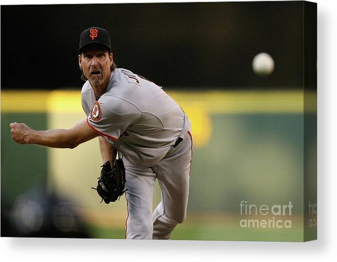 People Canvas Print featuring the photograph San Francisco Giants V Seattle Mariners 3 by Otto Greule Jr