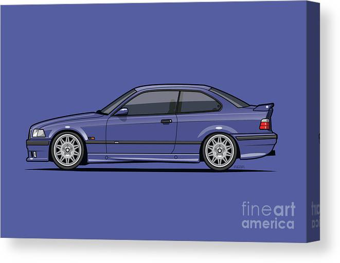 Automotive Art Canvas Print featuring the digital art Bavarian E36 3-series M-drei Coupe Techno Violet by Tom Mayer