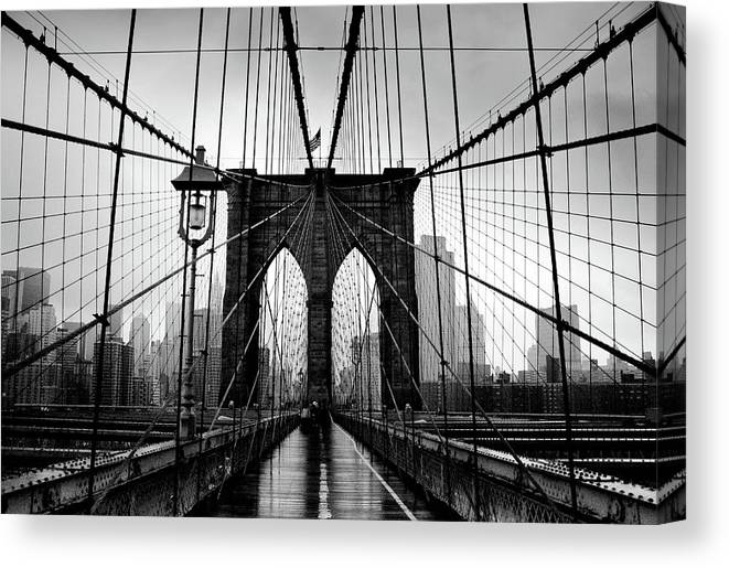 Clear Sky Canvas Print featuring the photograph Brooklyn Bridge by Serhio.com Photography By Sergei Yahchybekov