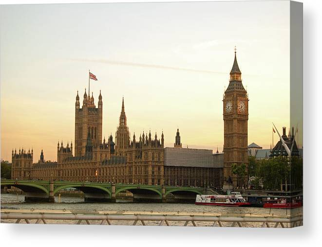 Clock Tower Canvas Print featuring the photograph Houses Of Parliament From The South Bank by Sharon Vos-arnold