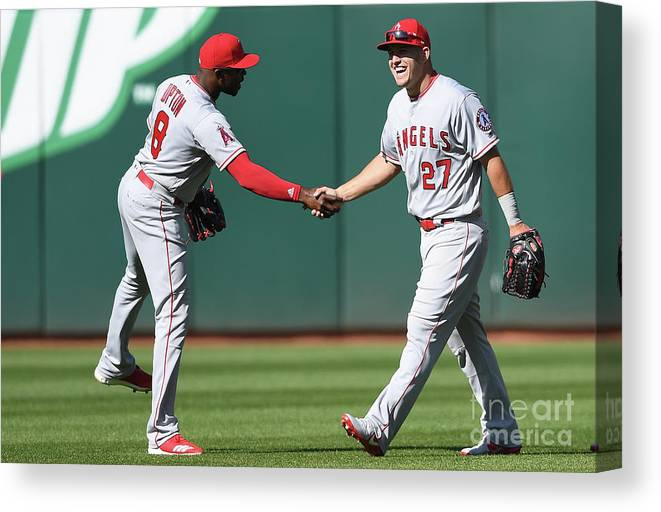 American League Baseball Canvas Print featuring the photograph Los Angeles Angels Of Anaheim V by Thearon W. Henderson