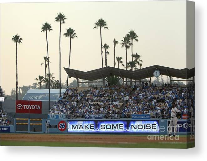 California Canvas Print featuring the photograph San Francisco Giants V Los Angeles by Jed Jacobsohn