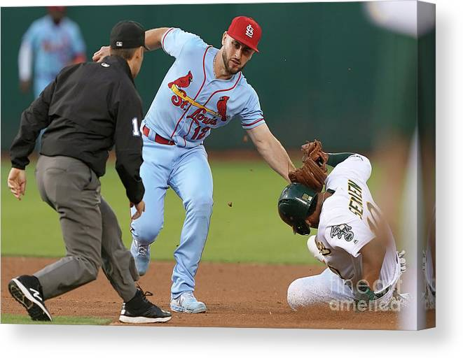St. Louis Cardinals Canvas Print featuring the photograph St Louis Cardinals V Oakland Athletics by Thearon W. Henderson