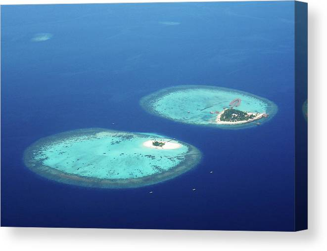 Outdoors Canvas Print featuring the photograph Twin Island Resort by Mohamed Abdulla Shafeeg