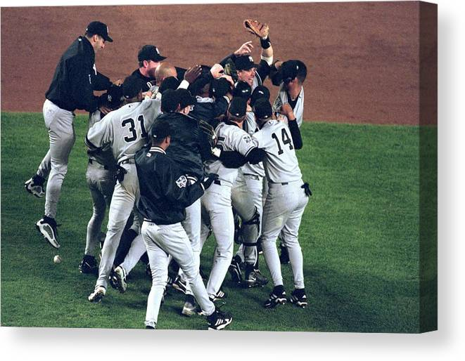 Celebration Canvas Print featuring the photograph View Of Yankees by Al Bello