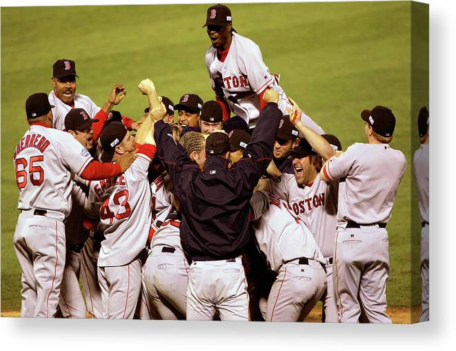 Celebration Canvas Print featuring the photograph World Series Red Sox V Cardinals Game 4 by Stephen Dunn