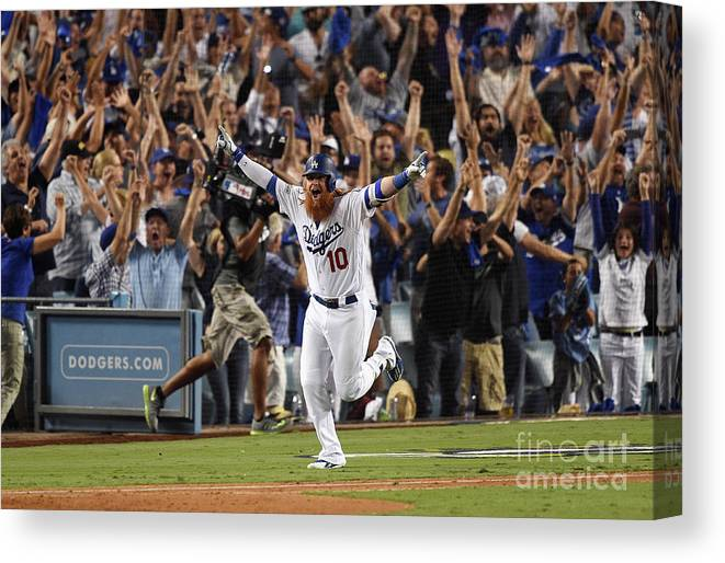 Game Two Canvas Print featuring the photograph Justin Turner by Kevork Djansezian