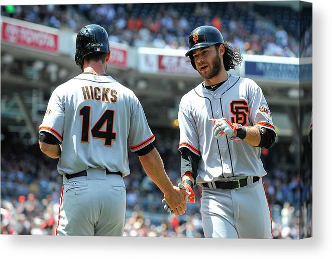 Second Inning Canvas Print featuring the photograph Brandon Hicks And Brandon Crawford by Denis Poroy
