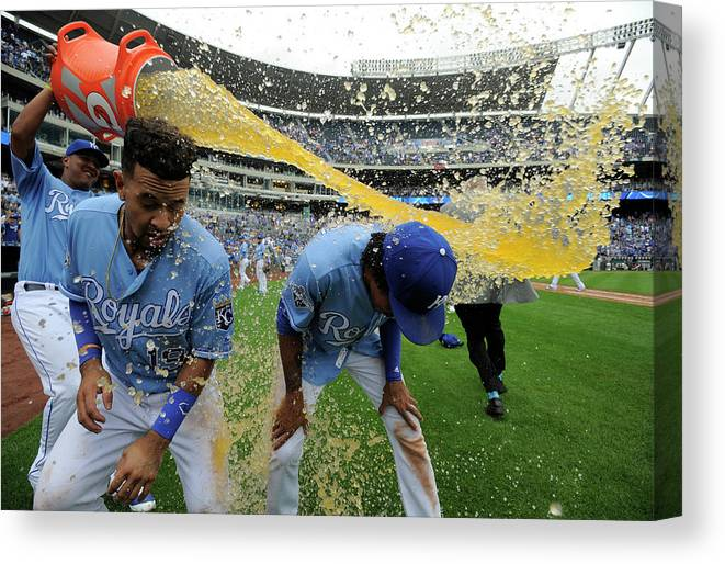 Salvador Perez Diaz Canvas Print featuring the photograph Cheslor Cuthbert And Raul Mondesi by Ed Zurga