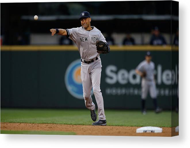 Playoffs Canvas Print featuring the photograph Derek Jeter And Brad Miller by Otto Greule Jr