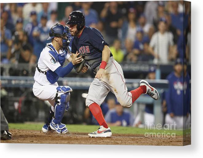 People Canvas Print featuring the photograph Ian Kinsler, Cody Bellinger, And Austin Barnes by Ezra Shaw