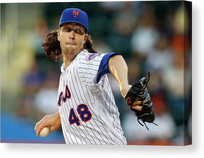 Jacob Degrom Canvas Print featuring the photograph Jacob Degrom by Rich Schultz