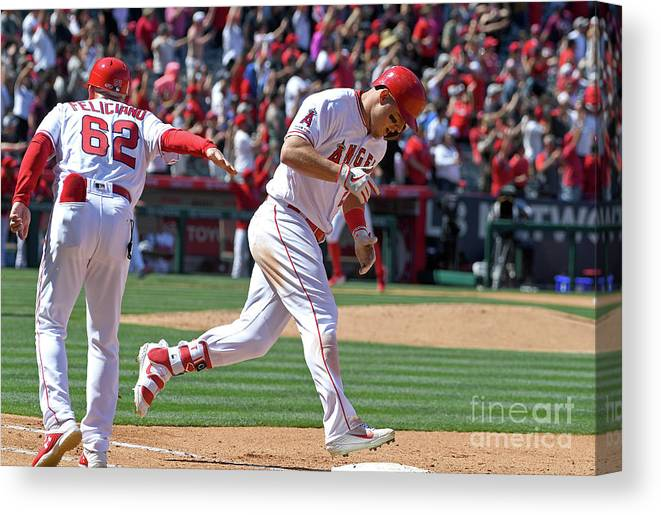 People Canvas Print featuring the photograph Jesus Feliciano And Mike Trout by Jayne Kamin-oncea