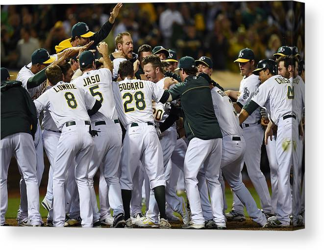 American League Baseball Canvas Print featuring the photograph Josh Donaldson by Thearon W. Henderson