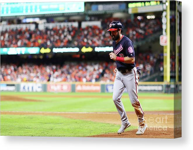 People Canvas Print featuring the photograph Juan Soto And Adam Eaton by Mike Ehrmann