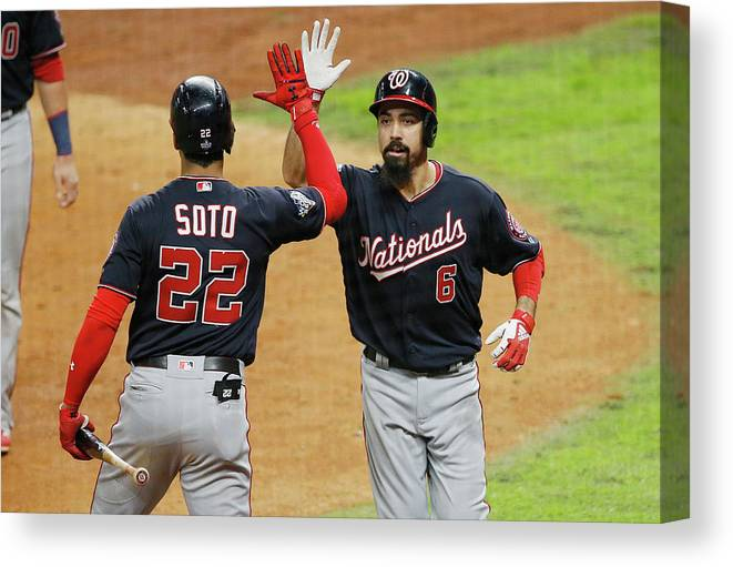 American League Baseball Canvas Print featuring the photograph Juan Soto And Anthony Rendon by Bob Levey