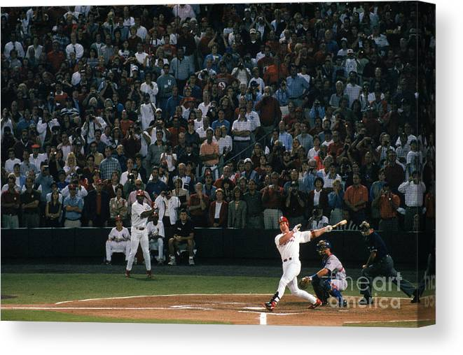 Season Canvas Print featuring the photograph Mark Mcgwire And Roger Maris by Bill Stover