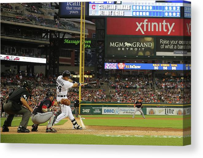 People Canvas Print featuring the photograph Miguel Cabrera, Anthony Gose, And Rajai Davis by Leon Halip