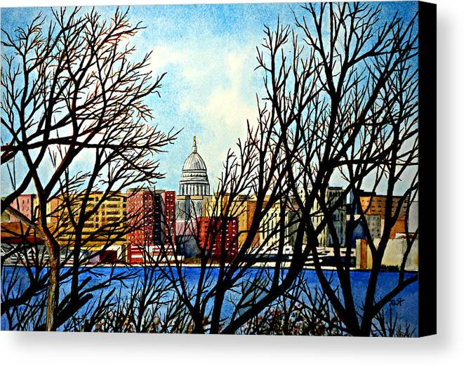 Wisconsin Canvas Print featuring the painting Madison Treed by Thomas Kuchenbecker