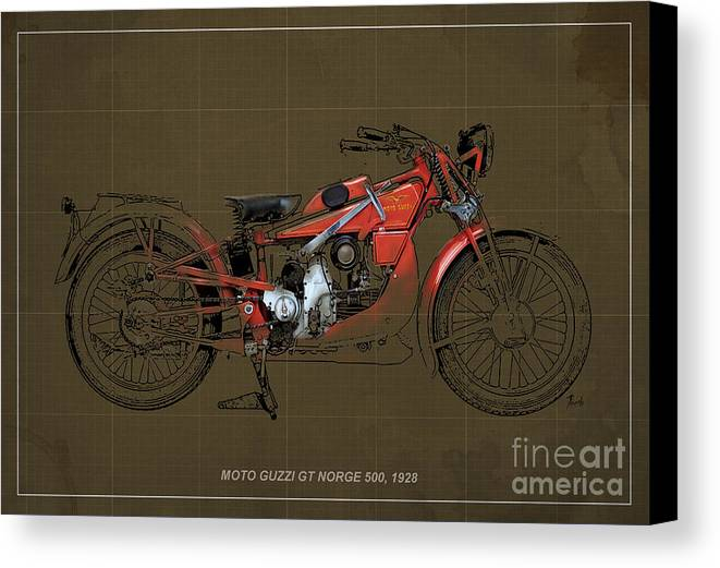 Le Mans Canvas Print featuring the digital art Moto Guzzi Gt Norge 500 1928 by Pablo Franchi