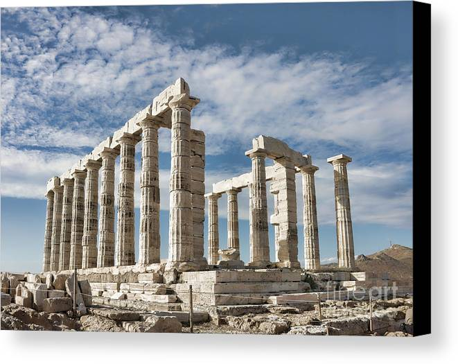 Ancient Canvas Print featuring the photograph Poseidon's Temple by Gabriela Insuratelu
