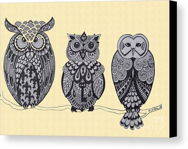 Owls Canvas Print featuring the drawing Three Owls On A Branch by Karen Larter